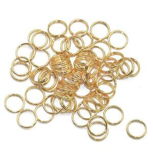 200x-Gold-SMALL-Keychain-Rings-Pendant-Chain-Double-Loop-Split-Key-Ring-8mm