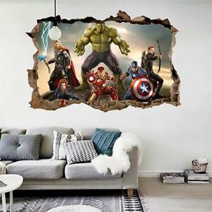 Details About Cartoon Avengers Wall Sticker 3d Decals Wallpaper Mural Art Poster For Kids Room