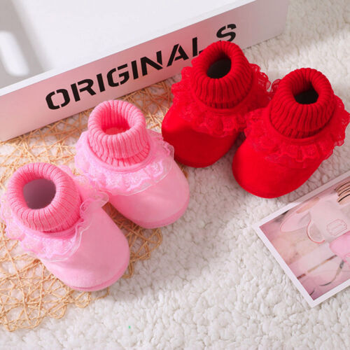 Newborn Baby Girl Soft Soled Lace Print Weave Prewalker Crib Shoes Cloth Shoes