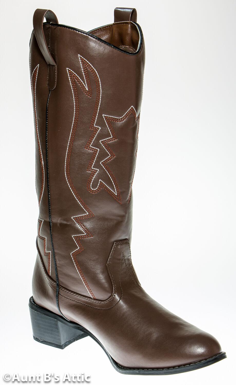 Cowboy Stiefel Braun Kostüm mit Weiß & Gesteppt Muster 3.8cm Absatz  | Moderne und stilvolle Mode  | Charakteristisch  | Garantiere Qualität und Quantität  | Realistisch  | Charmantes Design