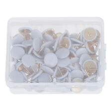 50 Pcs Round White Push Pins Notice Board Map Thumb Tacks Point Ball Drawing