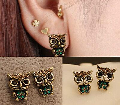 Owl  Cute Jewelry Lady Fashion Style Rhinestone Vintage Ear Stud  Earrings