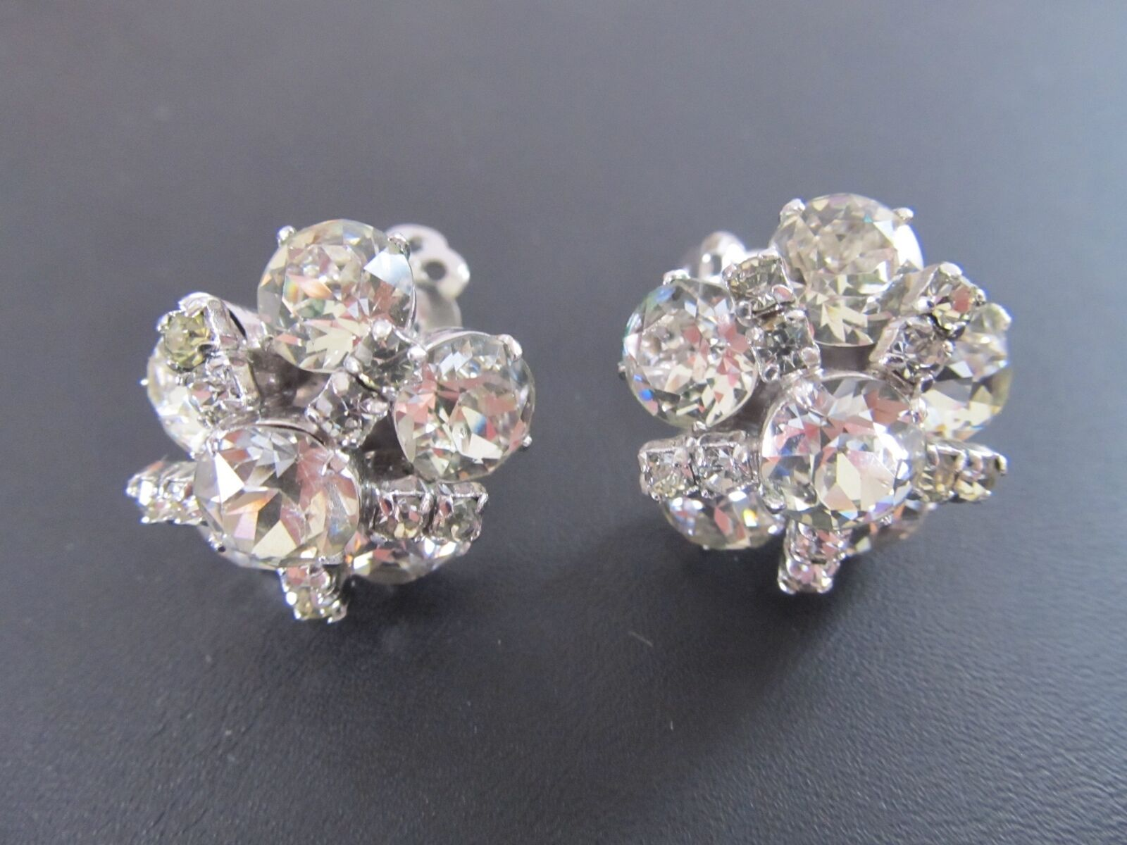 Stunning Kramer of NY Tiered Rhodium Plated Bridal Formal Clip On Earrings
