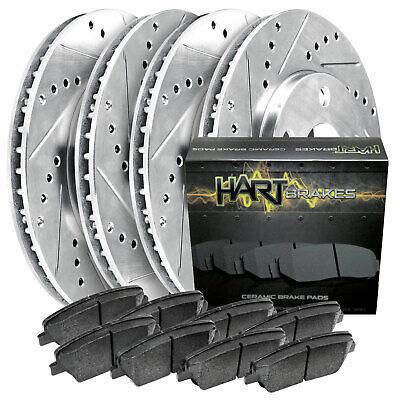 Front Cross Drill Brake Rotors Ceramic Pads Fit 2007-2011 BMW 323i 312mm