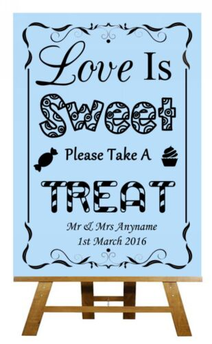 Poster Blue Love Is Sweet Candy Bar Cart Buffet Personalised Wedding Sign