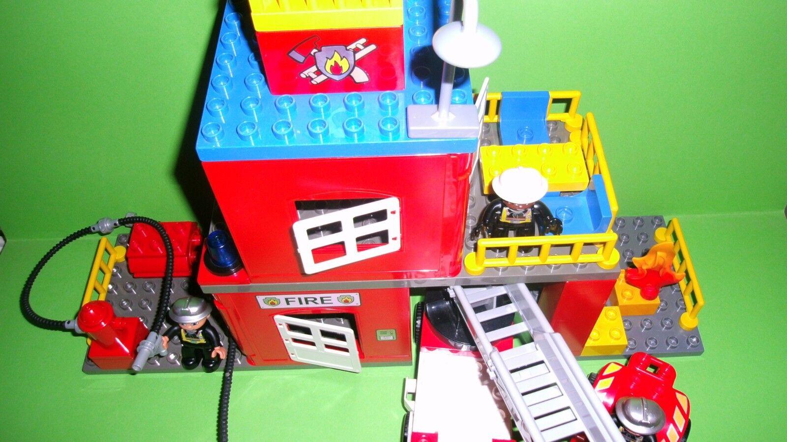 Lego Duplo Feuerwehr Station,Löschzug-Drehleiter, mit Licht&Sound,Quad,Zubehör,