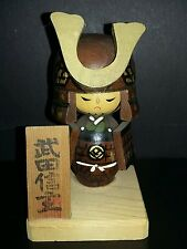 Vintage Bushido Samurai Battle  Japanese Wood KOKESHI Doll