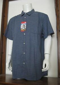 20eab5736 Details about XXL Men The North Face On Sight Short Sleeve Button Shirt  Shady Blue Stripe NWT