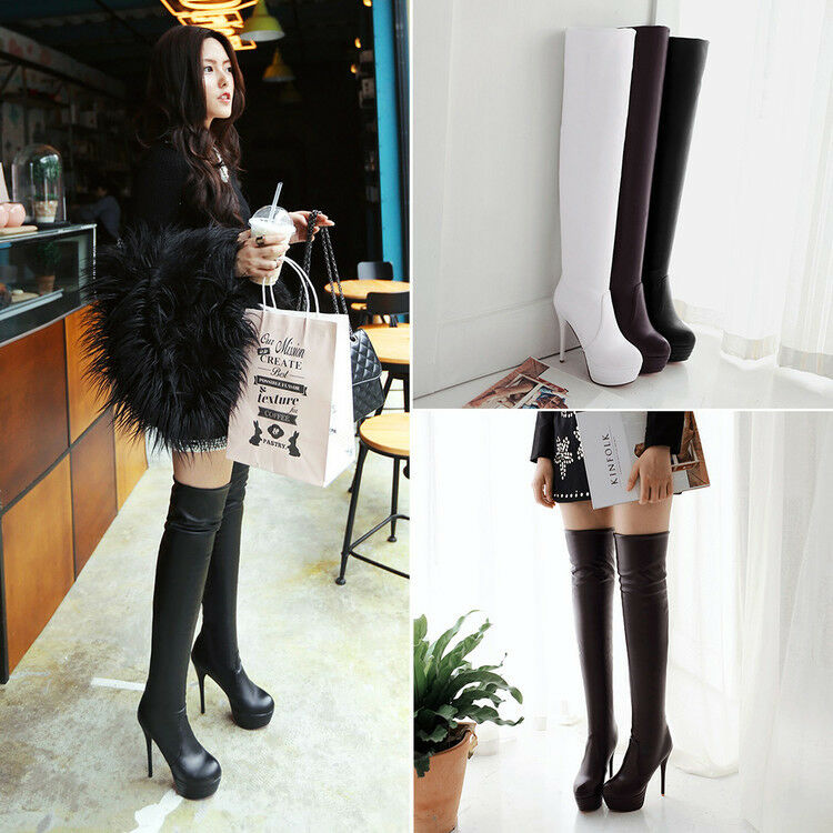 Women Super High Stiletto Heel Strench Over Knee Thigh Boots Patent Leather shoes
