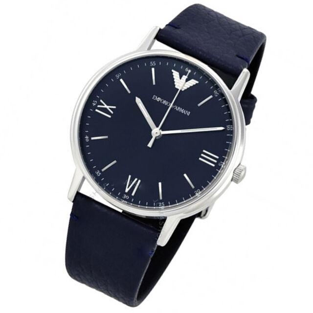 bb618c3268 Emporio Armani AR11012 KAPPA 43mm Blue Dial Black Leather Men's Watch