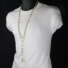 Mens Hip Hop 8mm GOLD Beads 14kt G.P Diamond-Shape Rosary & Jesus Cross Necklace