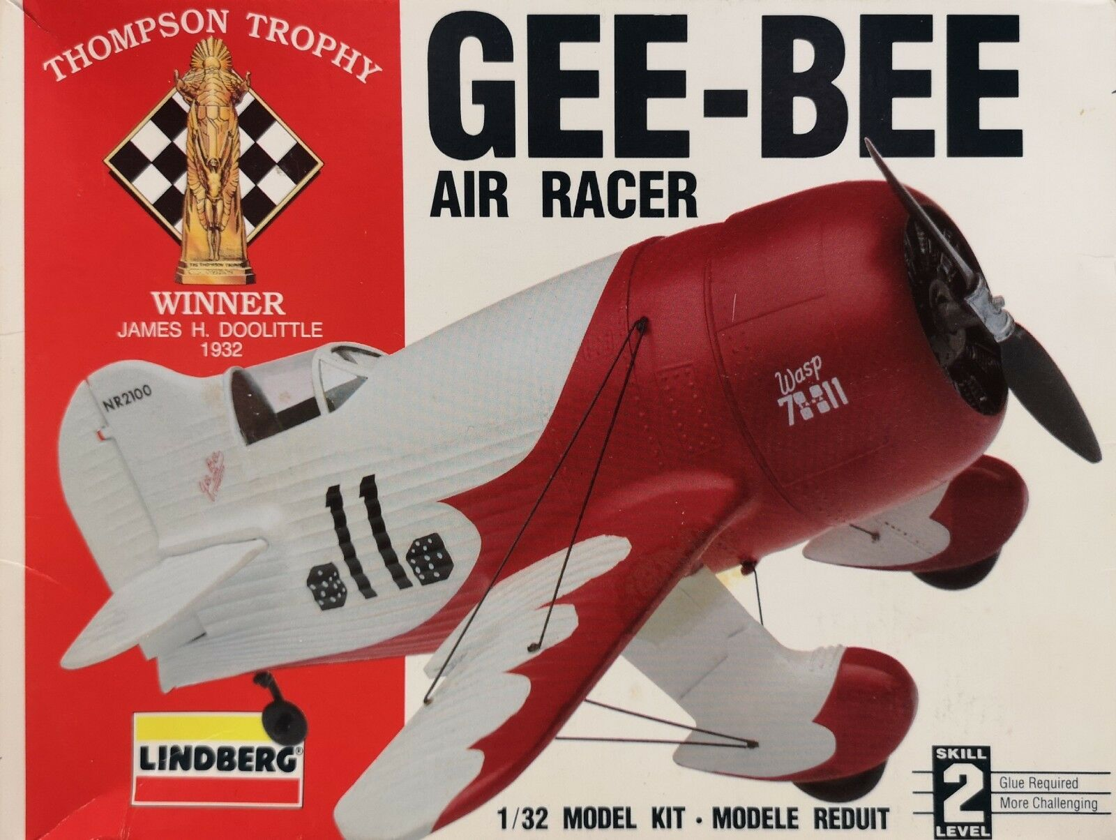 Lindberg Gee Bee Air Racer Thompson Trophy 1 32 Scale Plastic Model Kit.