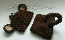 NEW Newborn Baby Boy Brown Monkey Hat and Diaper Cover Crochet Photo Prop Gift
