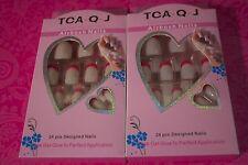 TCA.Q.J AIRBUSH NAILS 24 PCS DESIGNED Acrylic Nail tips LOT OF 2 USA SELLER #16