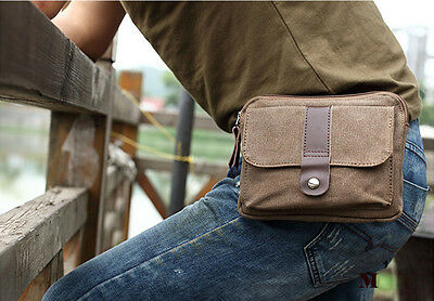 Men's Women's Canvas Vintage Casual Snaps Purse Pouch Fanny Hip/Bum/Waist Bag