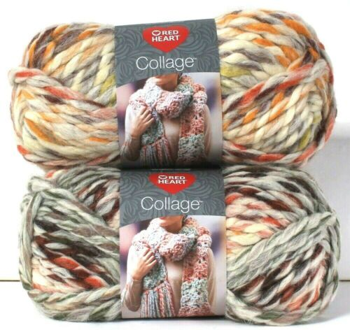 2 Count Red Heart 5 Oz Collage Potpourri 7 Jumbo 80/% Acrylic 20/% Wool Yarn