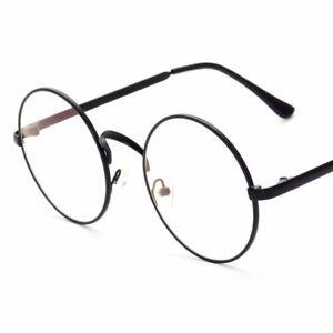 Retro-Vintage-Round-Eyeglasses-Metal-Frame-Clear-Lens-Glasses-Nerd-Spectacles