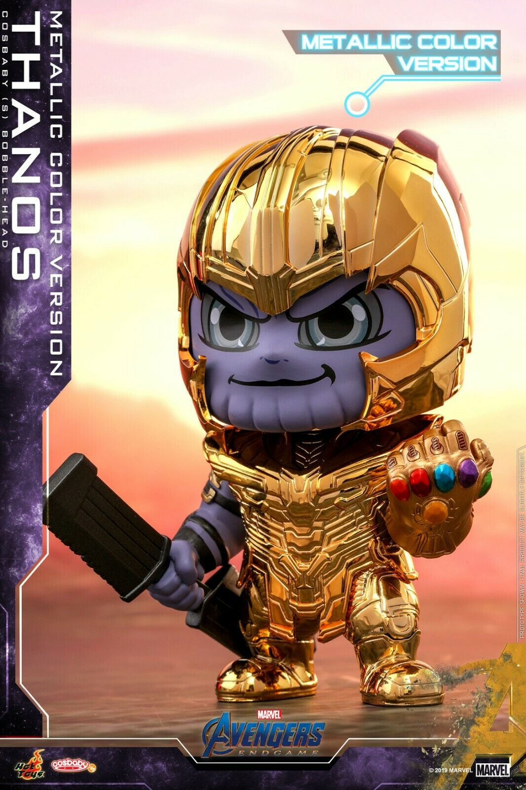 Thanos golden Armor Figure Hot Toys Cosbaby Bobble-Head Avengers Endgame Doll