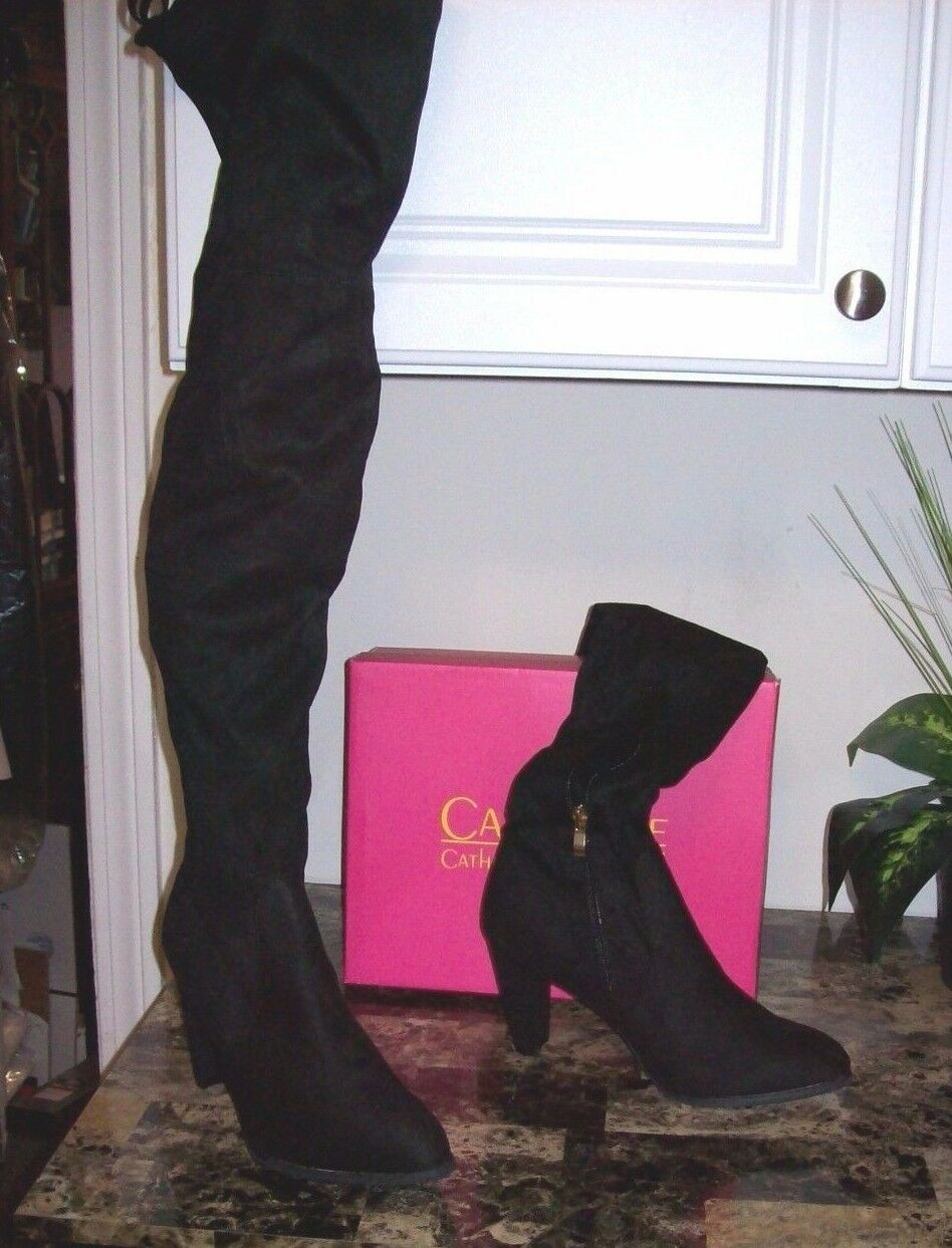 NEW CATHERINE MALANDRINO 150  BLACK    OVER  THE  KNEE  HI HEEL Stiefel  SIZE  9 8f2313