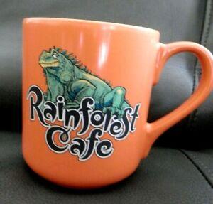 2000-Rainforest-Cafe-Large-Orange-Coffee-Mug-Cup-Iggy-Iguana-16-oz