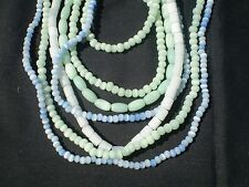 3 STRANDS RANDOM spacer Glass CATS EYE Beads Mix Multi colors rounds ovals tubes