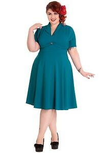 NEW-PLUS-SIZE-TEAL-VINTAGE-1950-039-S-DRESS-RETRO-GREEN-1940-039-S-OFFICE-2XL-uk-18