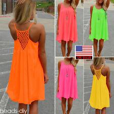 Summer Womens Casual Sleeveless Short Mini Dress Chiffon Beach Party Sundress