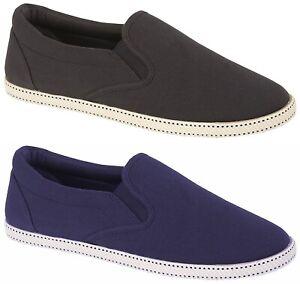 Mens Slip On Canvas Shoes Summer Pumps Casual Espadrilles Lightweight Plimsolls