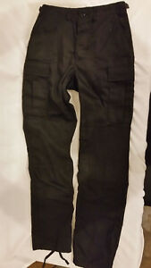 NWTs-MILITARY-STYLE-TRU-SPEC-BUTTON-UP-TROUSER-PANTS-BLACK-SMALL-LONG