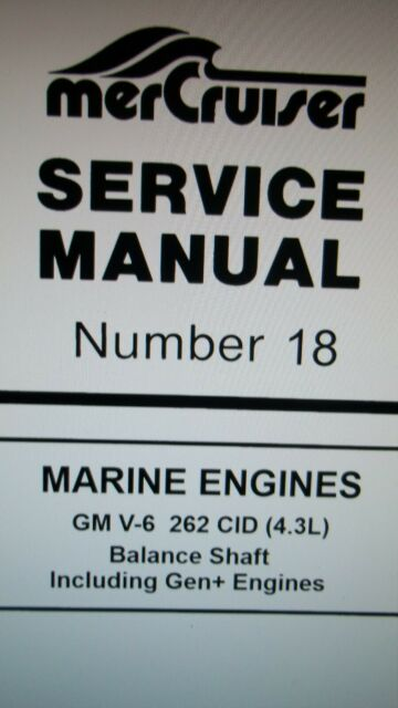 Mercruiser Manual  18 Gm V6 Cylinder 262 Cid 4 3l  Balance Shaft Shop Manual