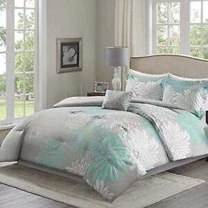 Comforter Sets Enya - 5 Piece Aqua, Grey Floral Printed King Size, Includes 1 2