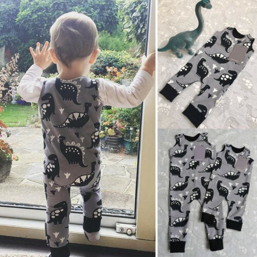 US STOCK Dinosaur Infant Toddler Boy Clothes Romper Jumpsuit One-Piece Outfit