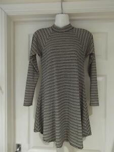 4aa733c752ca BLUE VANILLA Jumper Dress Pink Grey Black Striped High Neck Swing UK ...