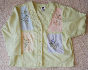 ba07e5219df Image is loading TOGETHER -PASTEL-COLOR-BLOCK-CARDIGAN-WITH-EMBROIDERED-FLORAL-