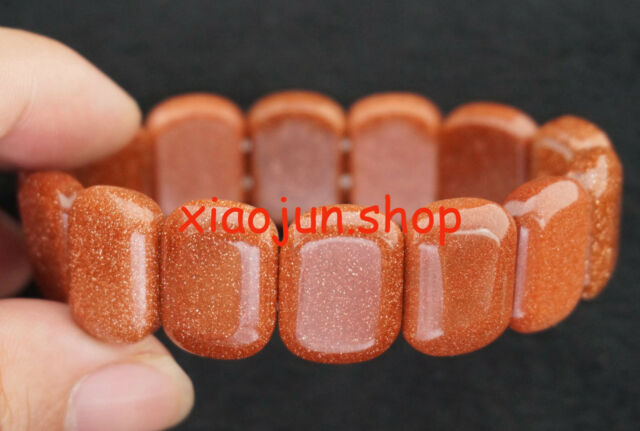 Charmming 13x18mm GOLDSTONE  Gemstone Beads Stretchy Bracelet Bangle 7.5""