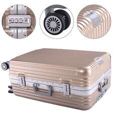 "26"" Luggage ABS Aluminum Frame Trolley Suitcase Double TSA Lock Gold 4 Wheels"