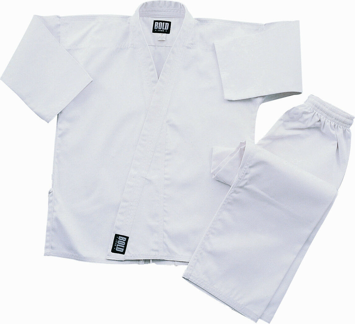White Heavyweight 12oz Brushed  Cotton Karate Uniform by Bold 550w  buy cheap new