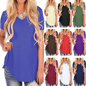 Women-Short-Sleeve-T-Shirt-V-Neck-Basic-Tunic-Blouse-Summer-Casual-Loose-Fit-Top