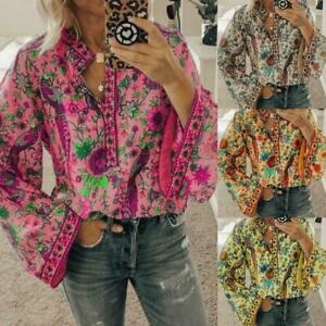 Women-Boho-Lantern-Long-Sleeve-Loose-Tops-Hippie-Gypsy-Tunic-Blouse-Shirt-S-L6D0