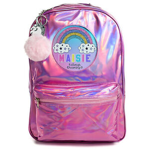 RAINBOW-Bag-Girls-School-Backpack-Shiny-Holographic-Pink-Bag-Personalised-PH07
