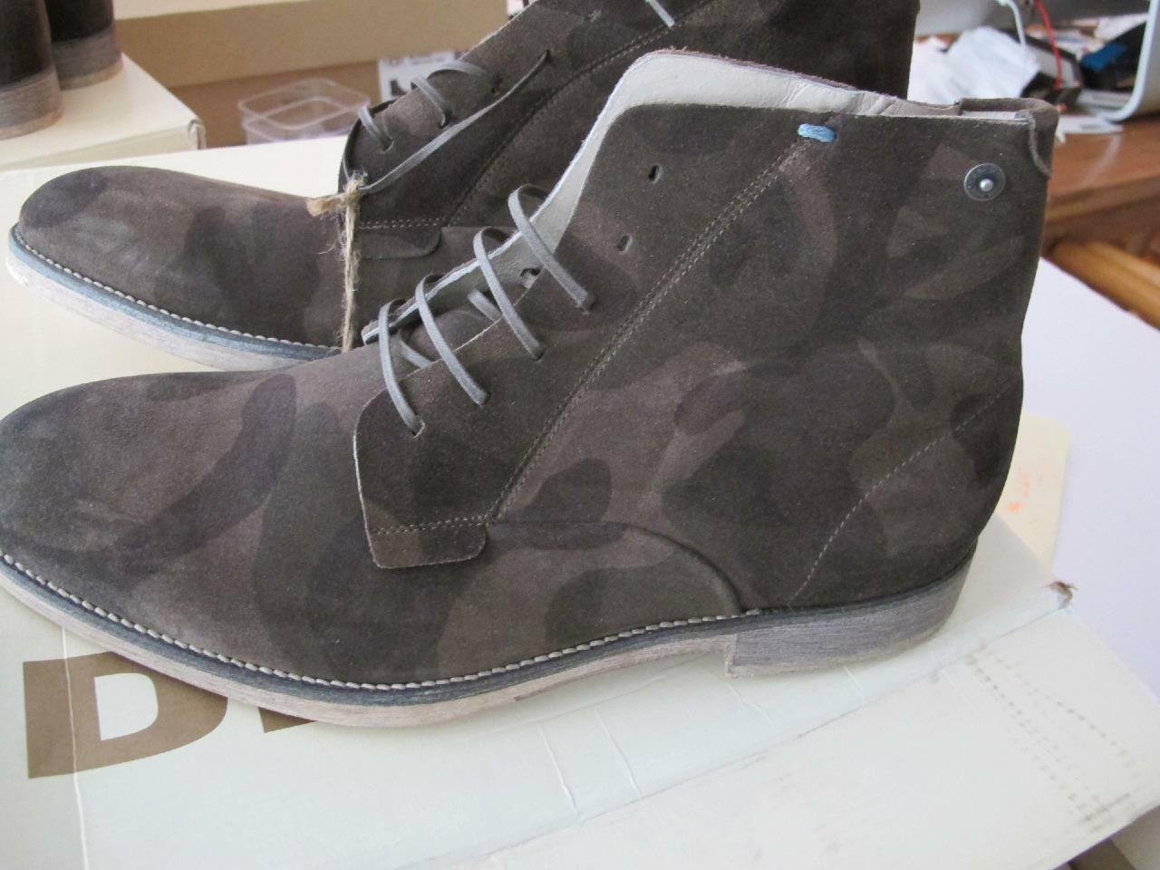 DIESEL The Gold Digger Quartium Mens leather Boot OLIVE CAMO, 10 and 10.5
