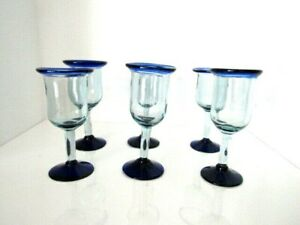 Mexican Hand Blown Wine Glass Goblets Cobalt Blue Rim and Base Set of 6