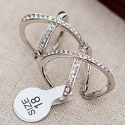 Full Crystal Party Knuckle Adjustable Ring Gift Fashion Jewelry Women Girl
