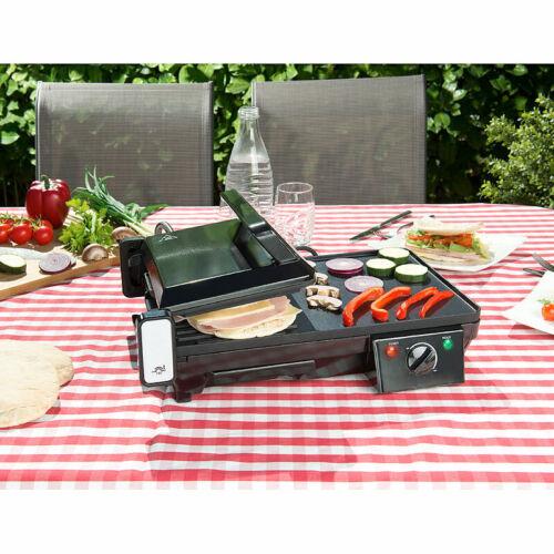 Elektrischer 2in1-Tischgrill mit Kontaktgrill Grillplatte 2.000 Watt Griller