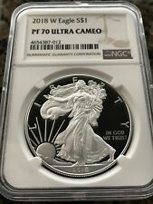 Brown Label 2018 W Silver Eagle Proof NGC PF70 Ultra Cameo