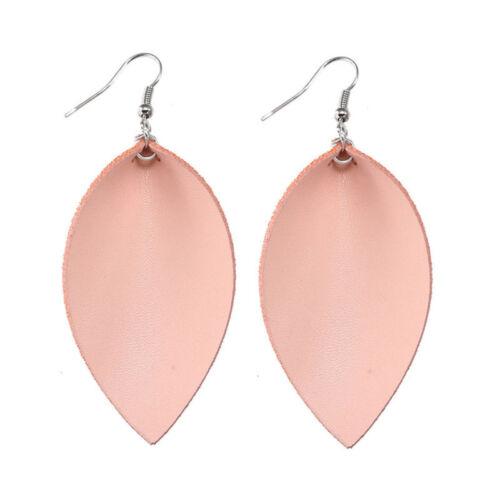 Bohemian leaf tear drop ear stud handmade leather earrings jewelry lady new