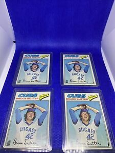 Lot-Of-Four-4-BRUCE-SUTTER-ROOKIE-TOPPS-1977-CHICAGO-CUBS-RC-BASEBALL-CARD-RAW