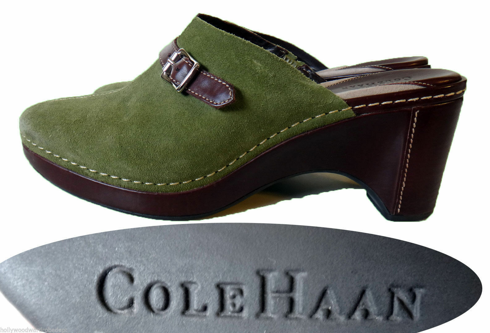 Cole Haan Green Green Green suede leather slip on MULE clog 9 B olive 3 inch heel 40 buckle e6cec5