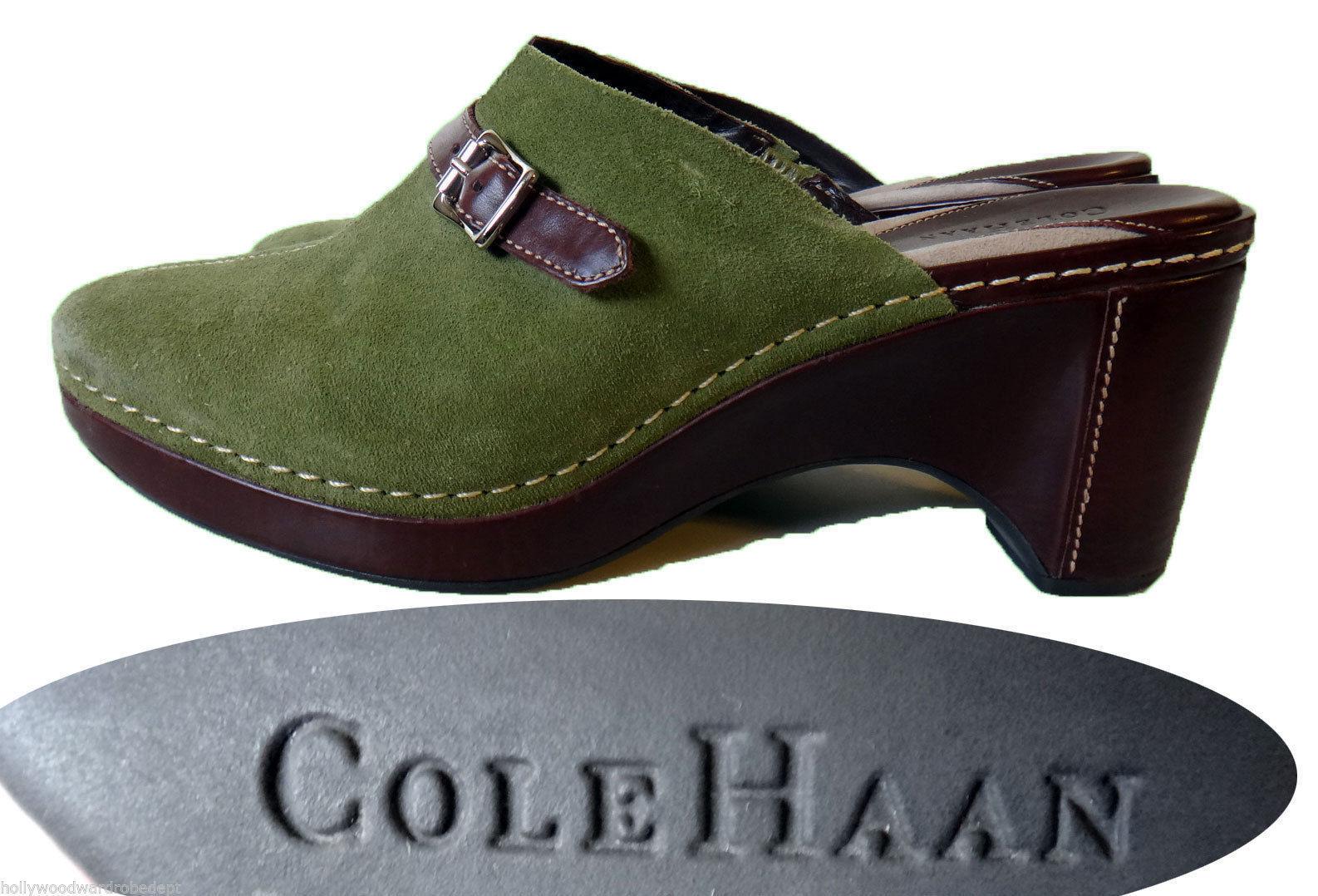 Cole Haan Green suede Leder slip on MULE clog 9 B olive 3 inch heel 40 buckle