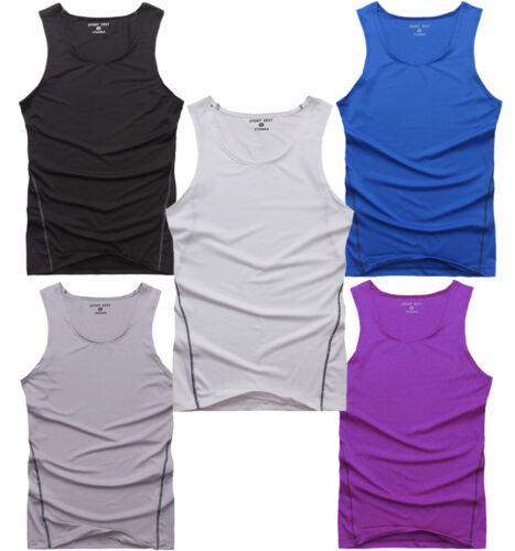 Mens Compression Skin Base Layer Tee Shirt Fitness Athletic Vest Activewear Tops